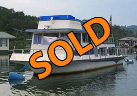 1973 Nautaline 13 x 43 Fiberglass Twin Engine Flybridge Houseboat For Sale on Norris Lake TN at Straight Creek Boat Dock