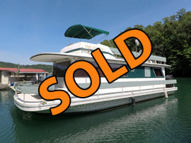 1980 Gibson Executive 12 x 42 Fiberglass Houseboat For Sale on Norris Lake Tennessee at Shanghai Resort Marina