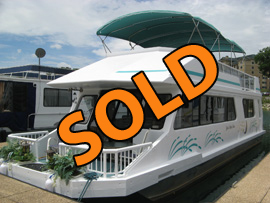 1988 Three Buoys 13 x 44WB Aluminum Hull Houseboat For Sale in TN on Norris Lake at Waterside Marina