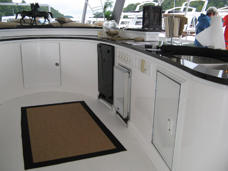 A second kitchen onboard an On Water Houseboat Expo Boat