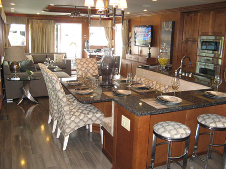An impressive kitchen at the 2009 On Water Houseboat Expo by Sharpe Houseboats